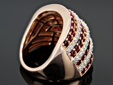 Pre-Owned Red And White Cubic Zirconia 18k Rose Gold Over Silver Ring 3.20ctw