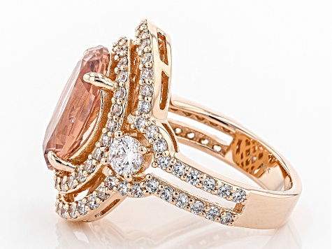 Pre-Owned Peach & White Cubic Zirconia 18k Rose Gold Over Sterling Silver Ring 8.25ctw