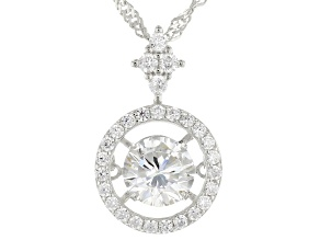 Pre-Owned White Cubic Zirconia Rhodium Over Sterling Silver Pendant With Chain 2.65ctw