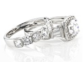 Pre-Owned White Cubic Zirconia Rhodium Over Sterling Silver Ring With Band 5.88ctw