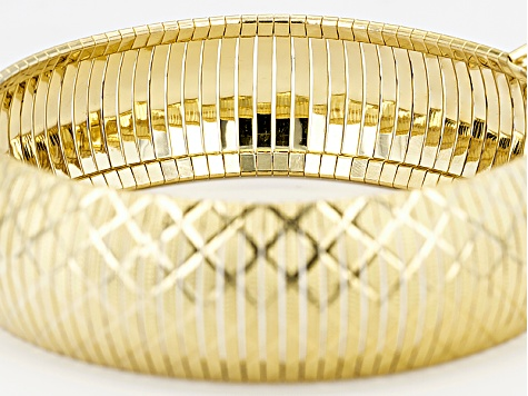 Pre-Owned 18k Yellow Gold Over Bronze Diamond Cut Flex Bangle 8 inch