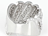 Pre-Owned White Cubic Zirconia Rhodium Over Sterling Silver Ring 4.83ctw
