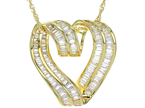 Pre-Owned white cubic zirconia 18k yellow gold over sterling silver pendant with chain 4.52ctw
