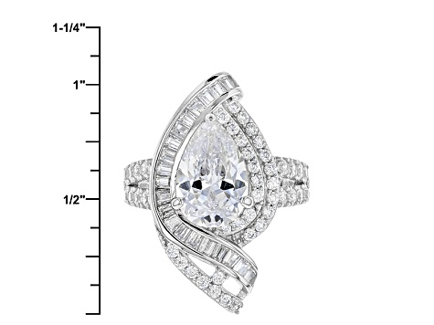 Pre-Owned White Cubic Zirconia Rhodium Over Sterling Silver Ring 6.67ctw