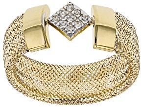 Pre-Owned 0.09ctw Diamond Simulant Square 10k Yellow Gold Medium Mesh Ring