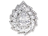 Pre-Owned White Cubic Zirconia Rhodium Over Sterling Silver Ring 4.33ctw