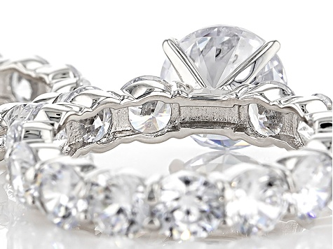 Pre-Owned Charles Winston For Bella Luce ® 28.00ctw Rhodium Over Sterling Silver Ring And Band