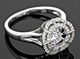 Pre-Owned White Cubic Zirconia Rhodium Over Silver Ring 1.11ctw