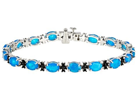 Pre-Owned Blue Ethiopian Opal Rhodium Over Sterling Silver Bracelet 8.16ctw