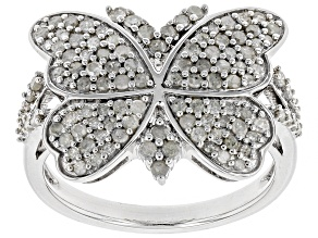 Pre-Owned White Diamond Rhodium Over Sterling Silver Ring 0.84ctw