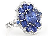 Pre-Owned Blue Kyanite rhodium over sterling silver ring 3.45ctw