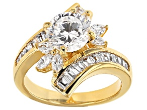Pre-Owned White Cubic Zirconia 18k Yellow Gold Over Silver Ring 4.73ctw