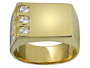 Pre-Owned Bella Luce® .63ctw Diamond Simulant 18k Yellow Gold Over Silver Gents Ring