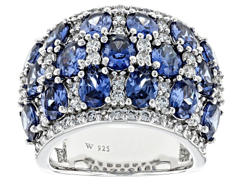 Pre-Owned Blue & White Cubic Zirconia Rhodium Over Sterling Silver Cluster Ring 10.62ctw