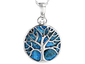 Pre-Owned Blue Turquoise Rhodium Over Silver Enhancer With Chain