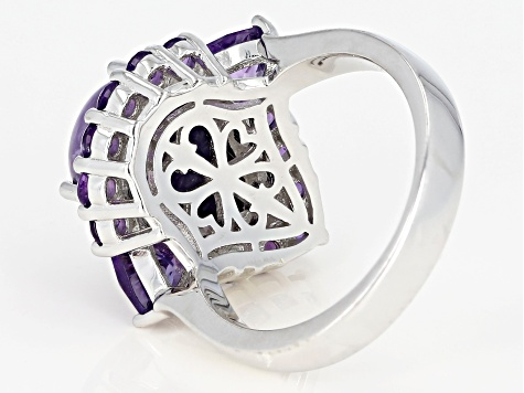 Pre-Owned Purple charoite rhodium over silver ring 1.57ctw
