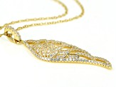 Pre-Owned White Cubic Zirconia 18K Yellow Gold Over Sterling Silver Angel Wing Pendant With Chain 1.