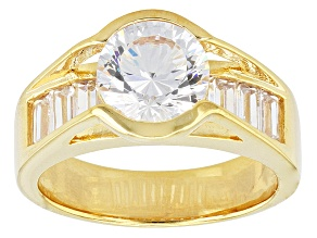Pre-Owned White Cubic Zirconia 18k Yellow Gold Over Silver Ring 4.98ctw