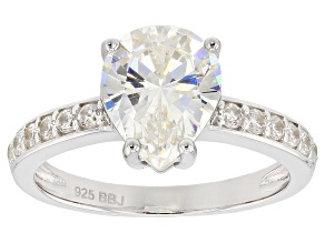 Pre-Owned Fabulite Strontium Titanate And White Zircon Rhodium over Sterling Silver Ring 3.37ctw