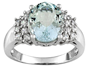 Pre-Owned 2.85ct Oval Altai Aquamarine ™ With .90ctw Round White Zircon Sterling Silver Ring