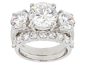 Pre-Owned Swarovski ® White Zirconia Rhodium Over Sterling Silver Ring With Band 12.98CTW