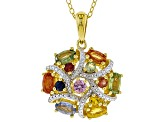 Pre-Owned Multi-Sapphire 18k Gold Over Silver Pendant With Chain 1.94ctw
