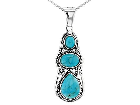 Pre-Owned Turquoise Silver Enhancer With Chain