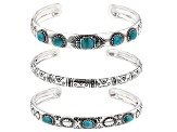 Pre-Owned Mixed MM Turquoise Sterling Silver Cuff Bracelet Set of 3