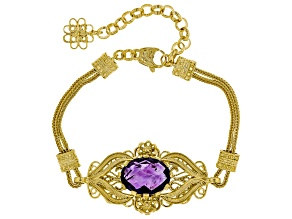 Pre-Owned 8.00CT Oval Amethyst 18K Yellow Gold Over Sterling Silver Bracelet