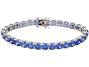 Pre-Owned Bella Luce ® Esotica ™ Tanzanite Simulant Rhodium Over Silver Bracelet Ctw Varies With Siz