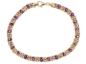 Pre-Owned 2.50 Ctw Amethyst 10k Yellow Gold Byzantine 8 inch Bracelet