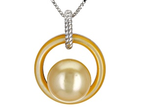 Pre-Owned 10mm Golden Cultured South Sea Pearl & Mother-Of-Pearl Rhodium Over Sterling Silver Pendan