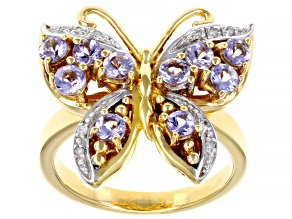 Pre-Owned Blue tanzanite 18k gold over silver butterfly ring 1.06ctw