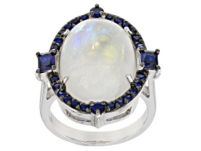 Pre-Owned White rainbow moonstone rhodium over sterling silver ring .75ctw