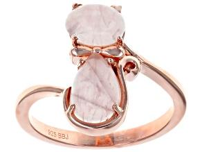 Pre-Owned  Pink rose quartz 18k rose gold over silver cat ring