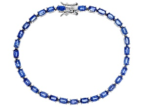 Pre-Owned Blue kyanite rhodium over sterling silver bracelet 8.69ctw