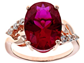 Pre-Owned Red lab created ruby 18k rose gold over silver ring 6.32ctw