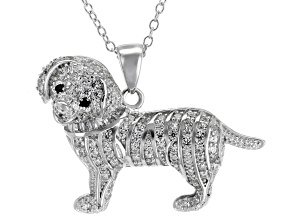 Pre-Owned Black Diamond Simulant & White Cubic Zirconia Rhodium Over Silver Dog Pendant With Chain 1