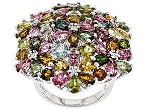 Pre-Owned Multi-Tourmaline Rhodium Over Silver Ring 11.29ctw