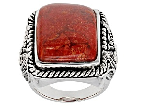 Pre-Owned Red Coral Sterling Silver Solitaire Ring