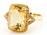 Pre-Owned Yellow citrine 18k yellow gold over silver ring 7.65ctw
