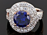 Pre-Owned Blue And White Cubic Zirconia 18k Rose Gold Over Silver Ring 9.51ctw