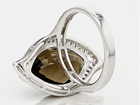 Pre-Owned Brown Smoky Quartz Sterling Silver Ring 7.40ctw