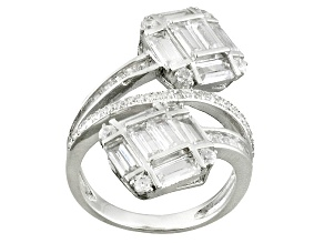 Pre-Owned White Cubic Zirconia Rhodium Over Silver Ring 5.97ctw