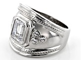Pre-Owned White Cubic Zirconia Rhodium Over Sterling Silver Ring 3.18CTW