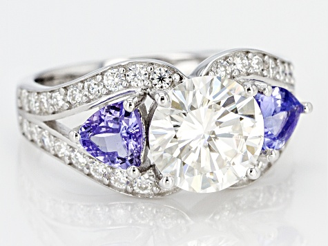 Pre-Owned Moissanite And Tanzanite Platineve® Ring 2.92ctw DEW