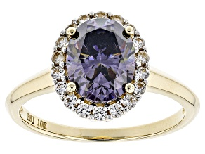 Pre-Owned Purple Fabulite Strontium Titanate And White Zircon 10k Yellow Gold Ring 2.73ctw