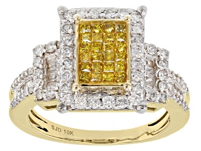 Pre-Owned Yellow And White Diamond 10k Yellow Gold Ring 1.30ctw