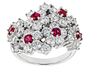 Pre-Owned Lab Created Ruby And White Cubic Zirconia Rhodium Over Sterling Silver Ring 3.80ctw