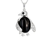 Pre-Owned Black tiger's eye sterling silver pendant with chain .43ctw